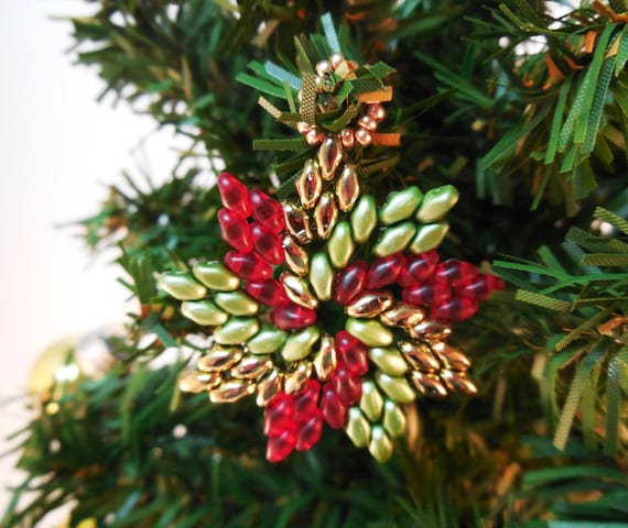 Christmas Beading Patterns - Beaded Christmas Ornament Patterns - DIY Christmas  Ornaments - DIY Christmas Gifts - Pinwheel Ornament - Christmas Beading Patterns Beaded Christmas Ornament Etsy
