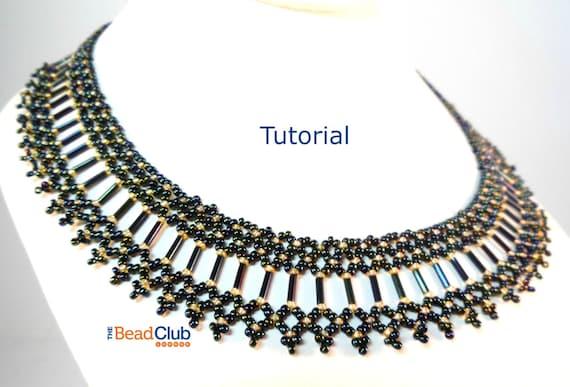 Bugle Bead Collar Pattern Seed Bead Necklace Pattern Etsy Gorgeous Bead Necklace Patterns