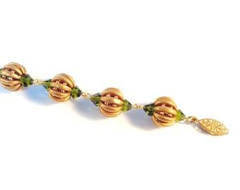 Beaded Pumpkin Earrings - Beaded Bracelet Pattern - Beaded Earring Pattern - Beaded Earring Tutorial - Crescent Beads - Segmented Pumpkin
