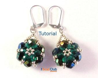 Right Angle Weave Beaded Earring Pattern - Beading Pattern - Beading Tutorial - Beadweaving Tutorial - Beadwork Jewelry PDF- Floret Earrings