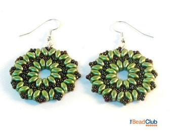 Superduo Earring Patterns - SuperDuo Patterns - Beaded Earring Patterns - Beadweaving Tutorials and Patterns - Two Hole Bead Patterns