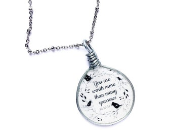 You Are Worth More Than Many Sparrows in Silver Necklace - JW Depression Gifts JW.org