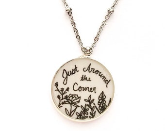 Just Around the Corner Handdrawn Floral Pendant Necklace | JW Jewelry Gift
