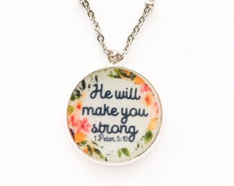 He Will Make You Strong Necklace | jw gifts | jw pioneer gifts