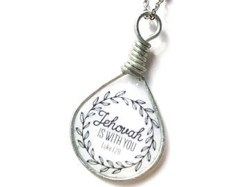 Jehovah is with You in Silver Necklace