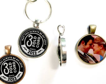 Keychain Personalized double sided 3 Fold Cord | JW Gifts