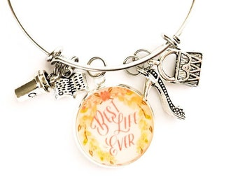 """Pastel Floral Best Life Ever Bracelet """"tools for the field ministry"""""""