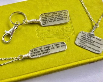 Custom Bible Scripture Pendent or Necklace or Key chain or Bracelet
