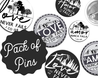 Vintage Forest Love Never Fails Pins  - International Convention JW Gifts JW.org Spanish El Amor Nunca Falla