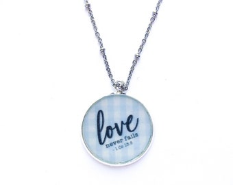 Love Never Fails Blue Gingham Necklace | jw gifts | jw pioneer gifts
