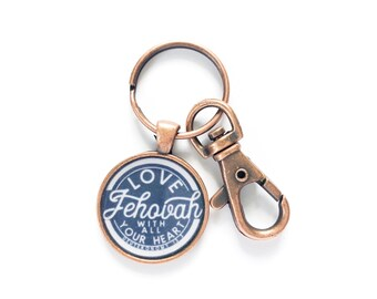 Love Jehovah With Your Whole Heart Navy Blue Assembly Key Chain