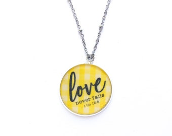 Love Never Fails Yellow Gingham Necklace | jw gifts | jw pioneer gifts