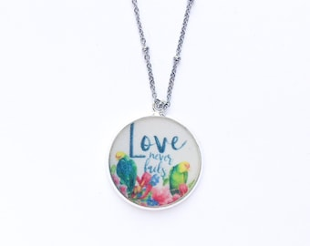 Love Never Fails Tropical BirdsNecklace | jw gifts | jw pioneer gifts