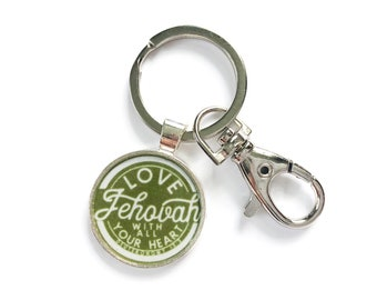Love Jehovah With Your Whole Heart Green Assembly Pendant Key Chain | JW Gifts