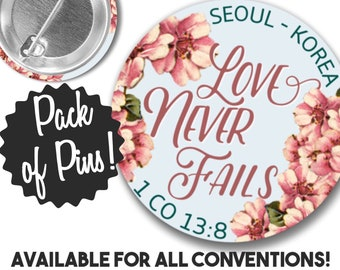 Love Never Fails Pins  Customized - International Convention JW Gifts JW.org