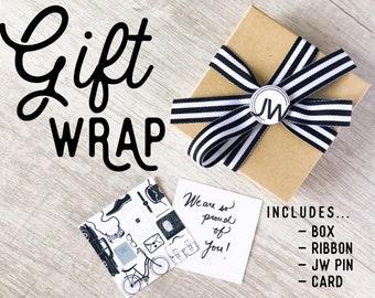 Gift Wrap - Box, Ribbon, & JW Button