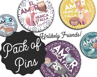 Spanish Unlikely Friends Love Never Fails Pins  - Special Convention JW Gifts JW.org Kids Moose Bird