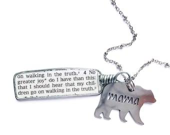 Mama Bear 3 John 4 Necklace or Keychain JW