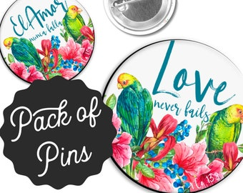 Tropical Birds Love Never Fails  Pins  - 2019 International Convention JW Gifts JW.org