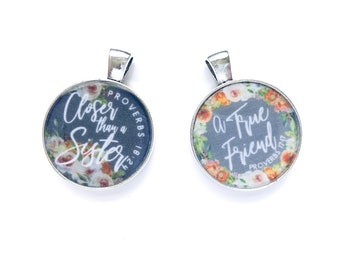 Double Sided A True Friend Closer than a Sister Necklace Keychain - JW Gifts JW.org