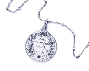 Love Never Fails Handdrawn Floral Pendant Necklace | JW Jewelry Gift