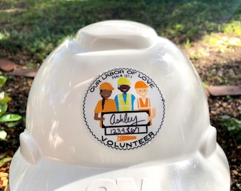 LDC DRC Volunteer Hard Hat Sticker - Name and Number - Our Labor of Love - JW Jw.org Disaster Relief