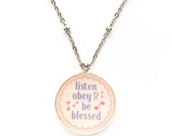 Listen Obey and Be Blessed Pendant Necklace | JW Jewelry Gift