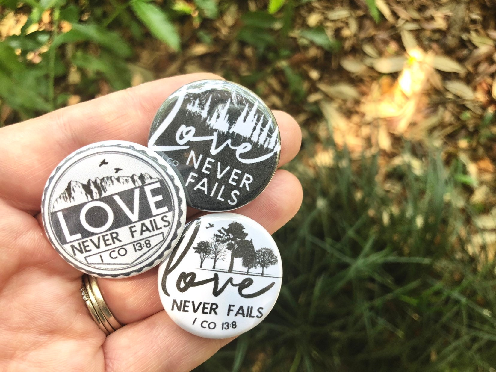 Vintage Forest Love Never Fails Pins - International