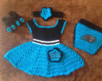 Crochet dress set Carolina Panthers inspired f10e87f1b