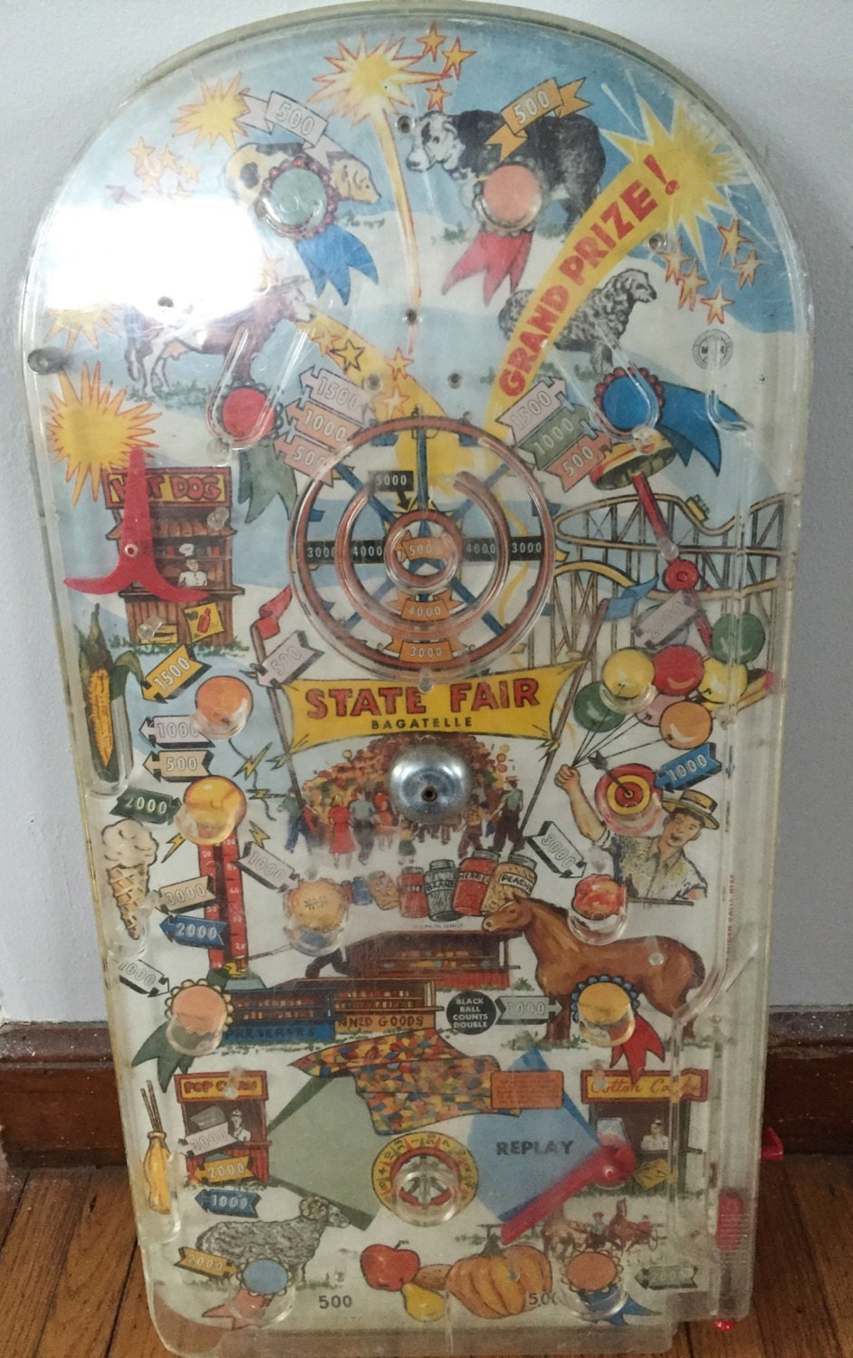 Vintage Lithograph Tabletop State Fair Pinball Machine, 1960's for sale