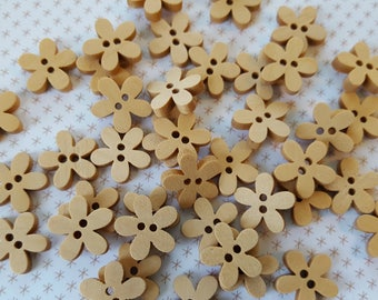 Natural Wooden Flower Shaped Buttons