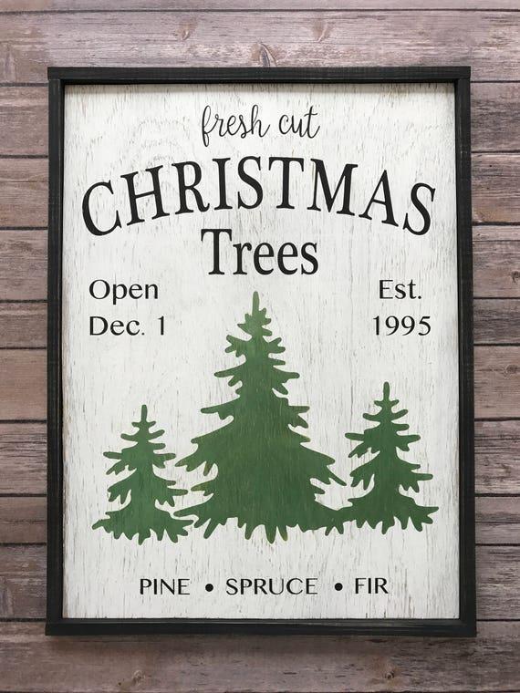 Fresh Cut Christmas Trees Sign.Rustic Fresh Cut Christmas Trees Sign Rustic Christmas Sign Customize Year 18 W X 22 H