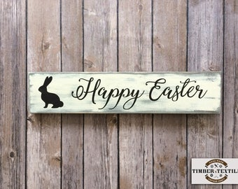 """Happy Easter Sign, Wood Easter Sign, Bunny Sign, Farmhouse Easter Sign, Rustic Wood Sign, 3.5""""H x 16""""W"""