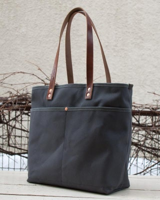Canvas Daily Tote - FREE Standard Shipping in US - Grey - Bridle Leather - Copper Rivets - Unisex - Made in USA