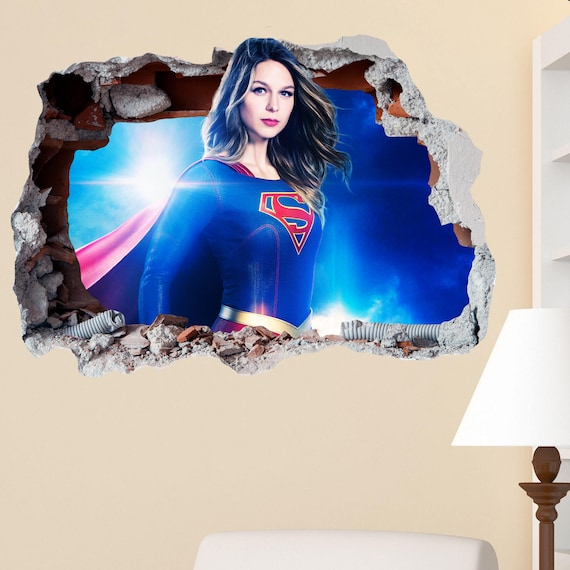 Bedroom 2 SUPER MARIO WALL CRACK HOLE IN THE WALL 3D STICKER Decal Mural