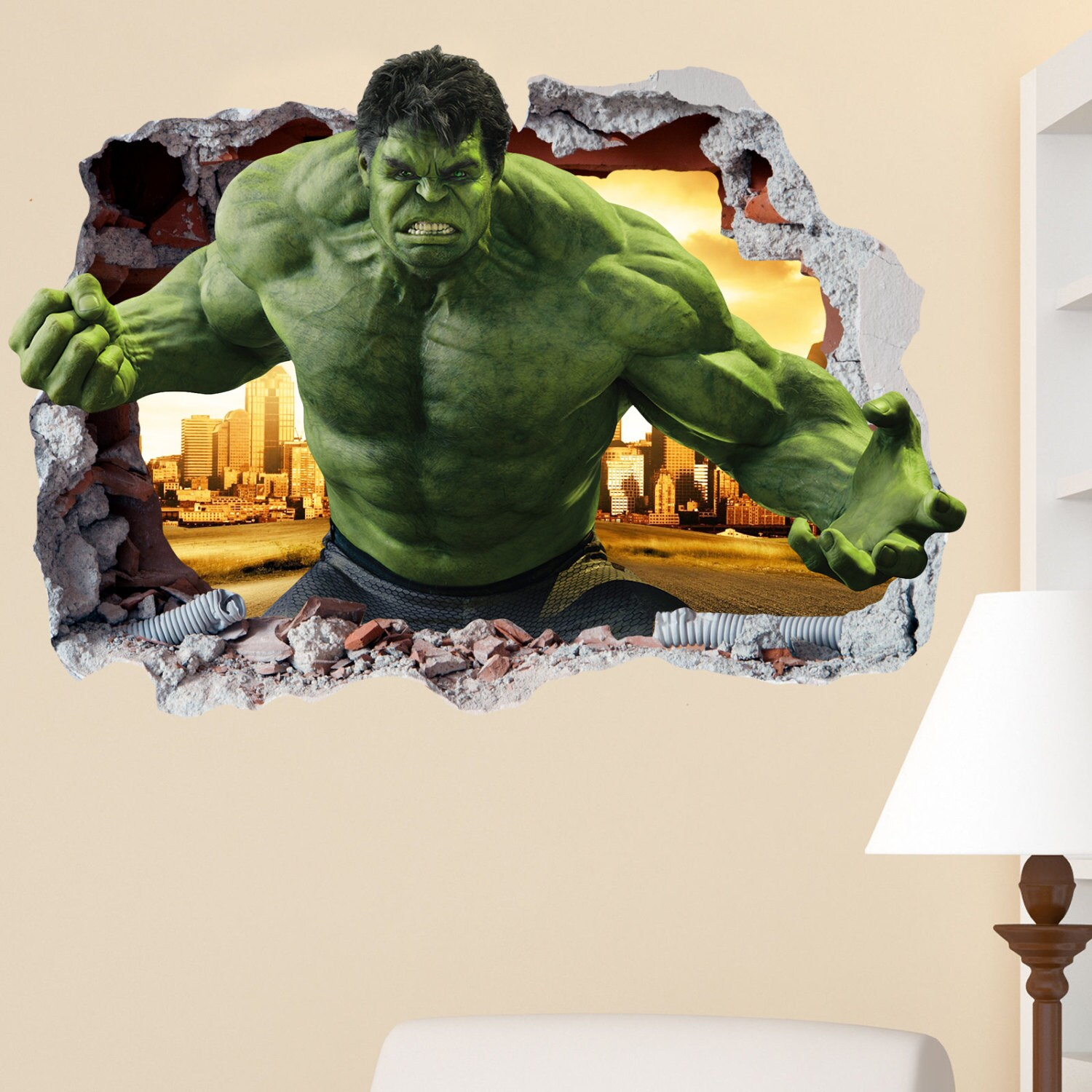 The Hulk Smashed Wall Sticker in Wall Crack Superhero Kids