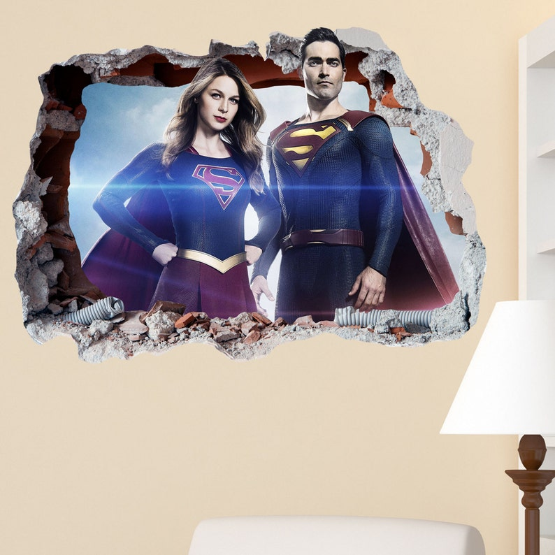 superman supergirl smashed wall sticker in wall crack | etsy