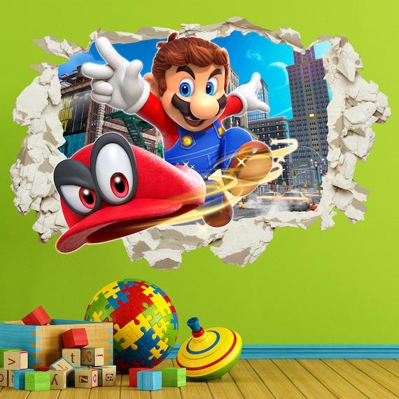 Super Mario zerschlagen 3D Wand Aufkleber Aufkleber Riss Haus   Etsy