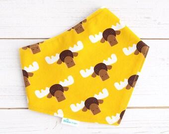 Baby Bandana Bib Dribble Baby Bib Organic Dribble Bib Moose Bib Gift for Baby Boy Drool Bib  Yellow Bib