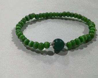 Green Cat eye & Aventurite Bracelet