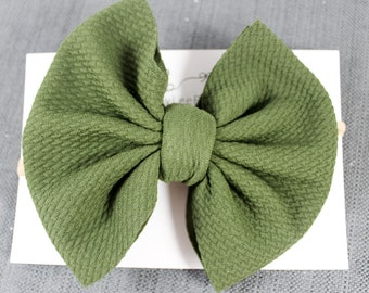 Head Wrap Stretch Fabric Bow Big Bows Hair Bows Bullet Bows Solid Green Liverpool Bows Baby Girl Bows Nylon Headbands and Clips