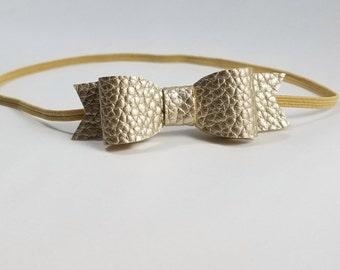 Gold Leather Headband. Tiny Bow Headband, Tiny Bow Headbands, Tiny Gold Bow, Gold Bow Headband, Newborn Headbands Bow, Dainty Bow Headband