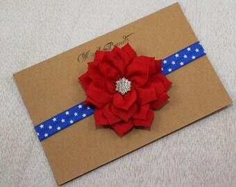 Patriotic baby headand. Red blue headband. 4th of July headband. Memorial Day headband. Baby girl headbands. Newborn headband.