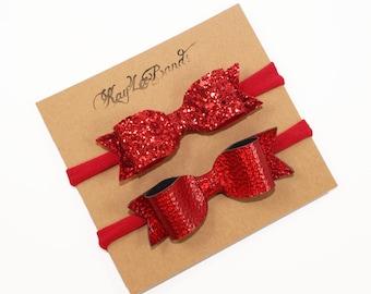 Choose One Red Headband, Red Nylon Headbands, Bow Headbands, Glitter Headbands, Leather Headbands, Red Christmas Headband