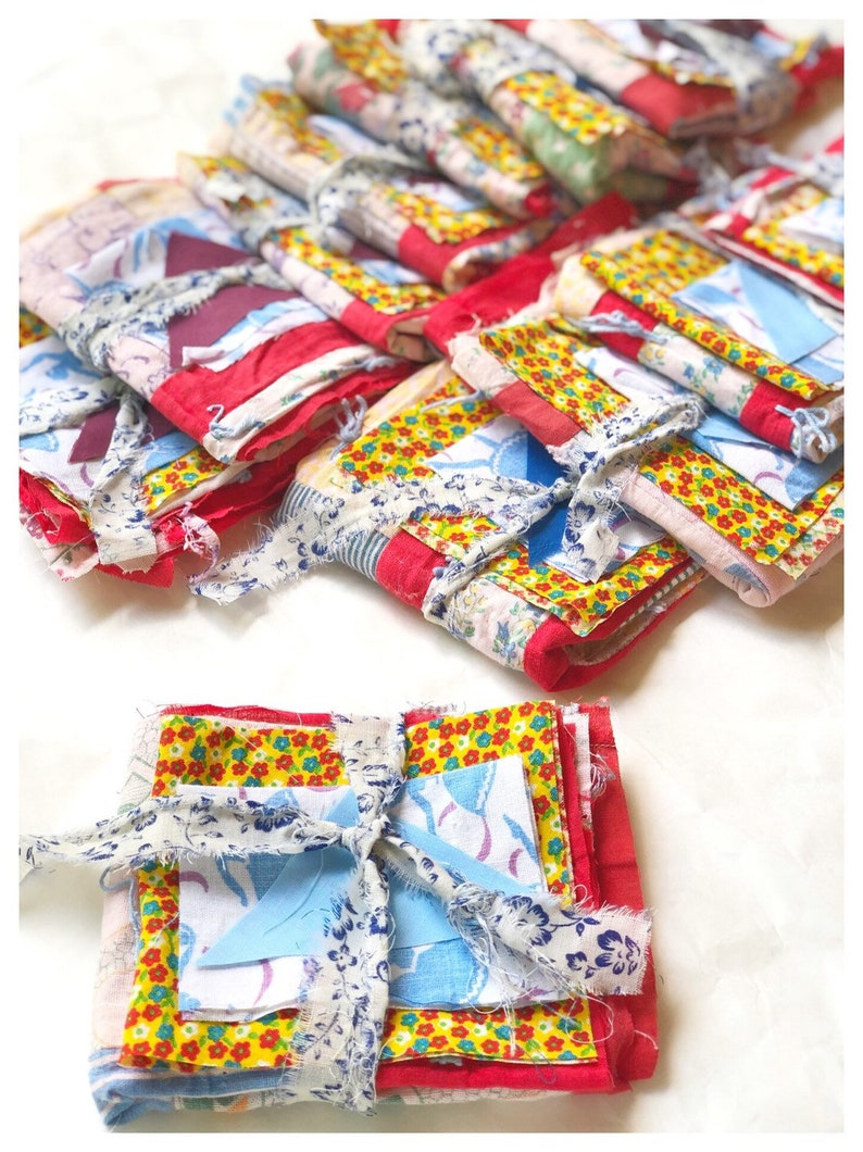 Fabric Bundle Antique Quilt Top Feedsack Scraps Vintage Fabric image 0