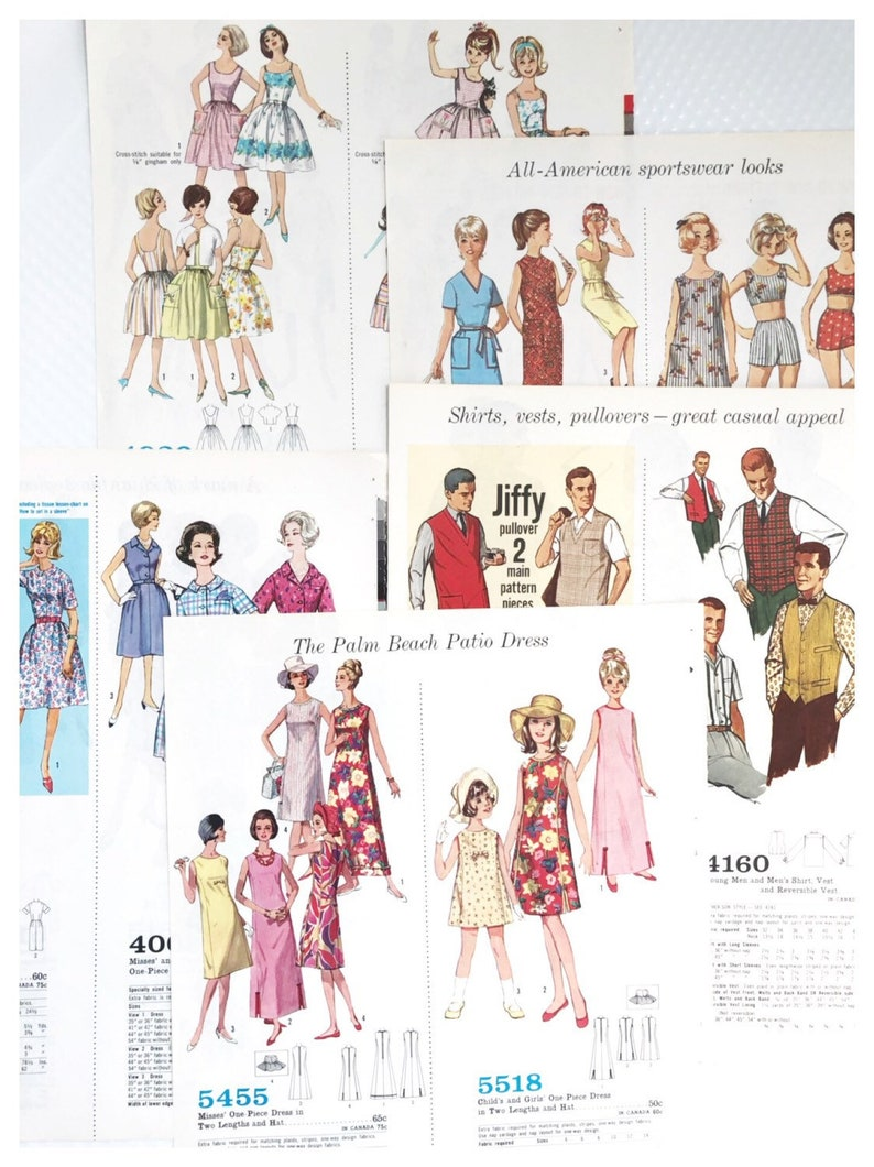 1963 Simplicity Dress Pattern Book Pages Journal Ephemera image 0