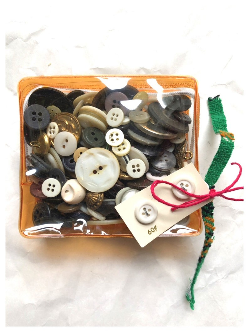 Vintage Button Collection Sewing Button Card Mixed Bag Buttons image 0