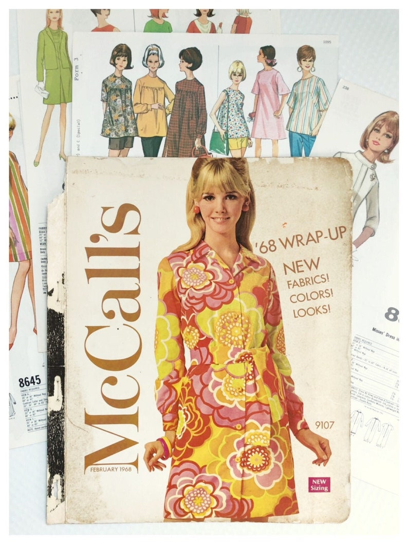 1968 McCalls Dress Pattern Book Pages Journal Ephemera Vintage image 0