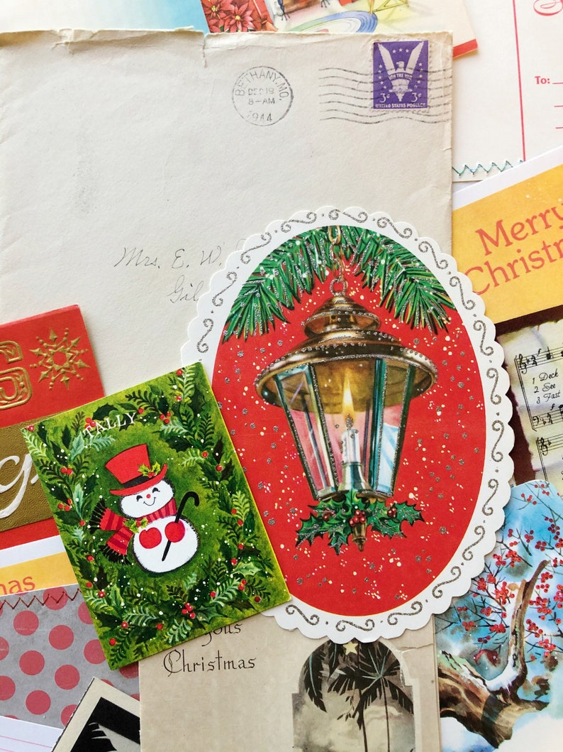 Vintage Christmas Cards Holiday Greetings Junk Journal image 0