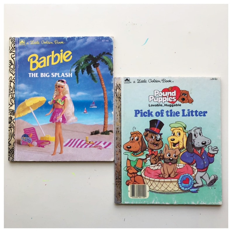 Pound Puppies Little Golden Book Vintage Barbie Book Lot of image 0